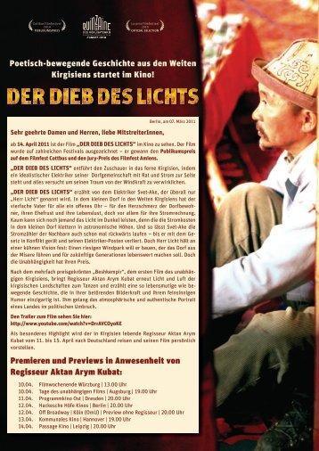 Premieren und Previews in Anwesenheit von Regisseur Aktan Arym ...
