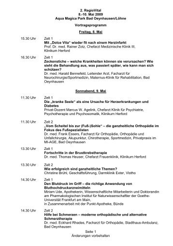 2. RegioVital 8.-10. Mai 2009 Aqua Magica Park Bad Oeynhausen ...