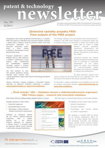 patent & technology newsletter - FREE - From Research to Enterprise
