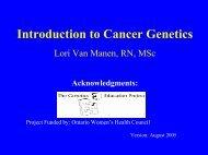 Introduction to Cancer Genetics Lori Van Manen, RN, MSc