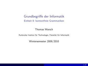Grundbegriffe der Informatik - Einheit 8: kontextfreie Grammatiken