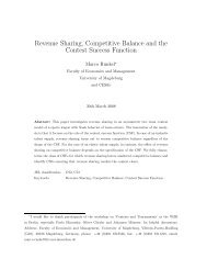Revenue Sharing, Competitive Balance and the Contest Success ...
