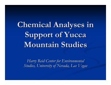 Briefing: Chemical Analyses in Support of Yucca Mountain Studies