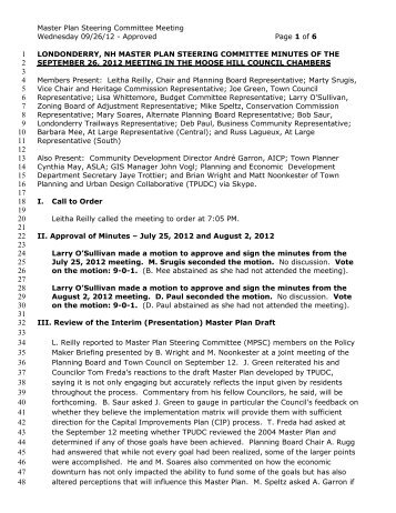 londonderry, nh master plan steering committee minutes of the ...