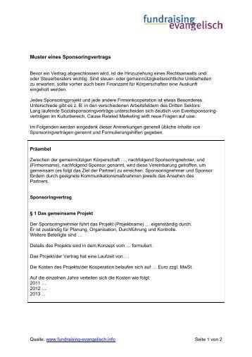 muster eines sponsoringvertrags fundraising evangelisch - Sponsoringvertrag Muster