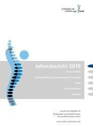 Jahresbericht 2010 -  Klinik für Orthopädie und Unfallchirurgie der ...