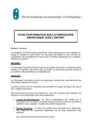 Fiche d'information sur la fibroscopie bronchique chez l'enfant