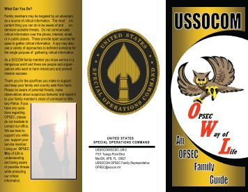 Opsec Family Guide - United States Special Operations Command