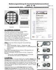 Bedienungsanleitung für Hochsicherheitstresorschloss DFS - S - 99