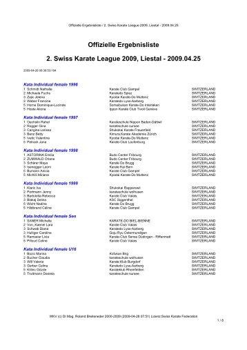 Offizielle Ergebnisliste 2. Swiss Karate League 2009, Liestal
