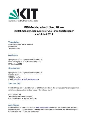 Ausschreibung KIT-Meisterschaft Eggenstein-Leopoldshafen 2013