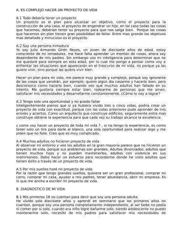 A. ES COMPLEJO HACER UN PROYECTO DE VIDA ... - carloschu.org