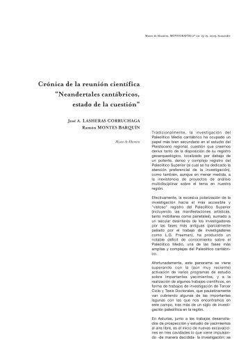 """Crónica de la reunión científica """"Neandertales cantábricos, estado ..."""
