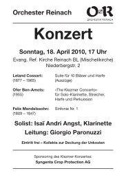 Solist: Isaï Andri Angst, Klarinette Leitung - Orchester Reinach