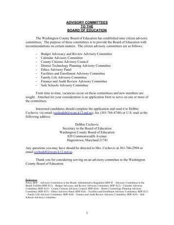 Advisory Committee Application - Washington County, MD Public ...