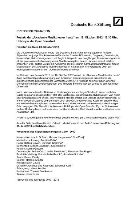 "8. Oktober 2012: FESTAKT DER ""AKADEMIE ... - Oper Frankfurt"