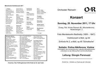 Solistin: Polina Nikiforova, Violine - Orchester Reinach