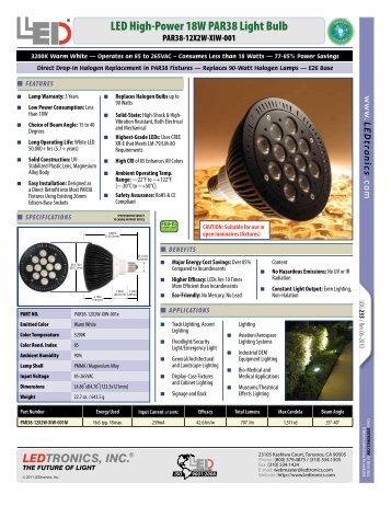 LED High-Power 18W PAR38 Light Bulb - Ledtronics Price Viewer ...
