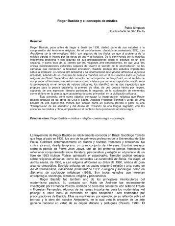 Roger Bastide y el concepto de mística - Revista Orbis Tertius
