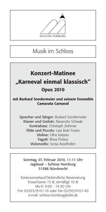 "Karnevalskonzert. ""Karneval einmal klassisch ... - Schloss Homburg"