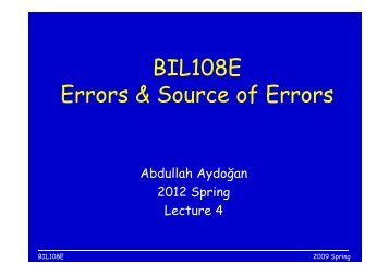BIL108E Errors & Source of Errors