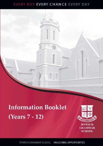 Information Booklet for New Parents - Ipswich Grammar School