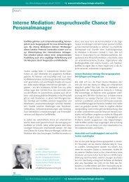 Interne Mediation: Anspruchsvolle Chance für Personalmanager