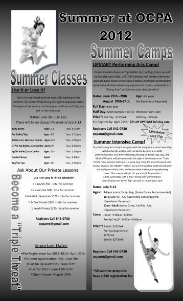 Summer Intensive Camp! - On Center Performing Arts