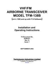 vhf/fm airborne transceiver model tfm-138b - Dallas Avionics, Inc.