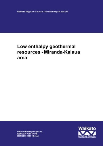 Low enthalpy geothermal resources - Waikato Regional Council