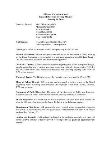 BODs Minutes, Jan 21, 2010.doc - NeoOffice Writer - Hillcrest ...