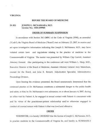 McNamara, Joseph G., MD, Harrisonburg, VA