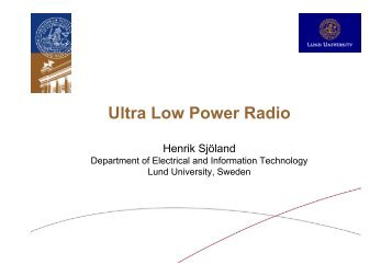 Ul P R di Ultra Low Power Radio - Lund Circuit Design Workshop