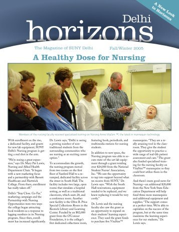 A Healthy Dose for Nursing - SUNY Delhi