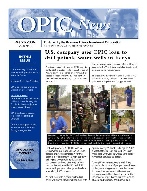 U S  company uses OPIC loan to drill potable water wells in
