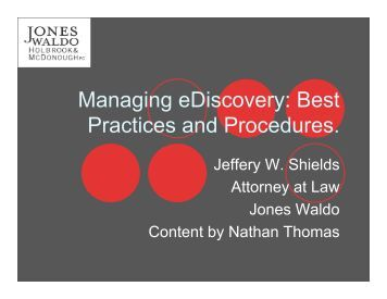 Managing eDiscovery - Best Practices and Procedures - #IEDC11