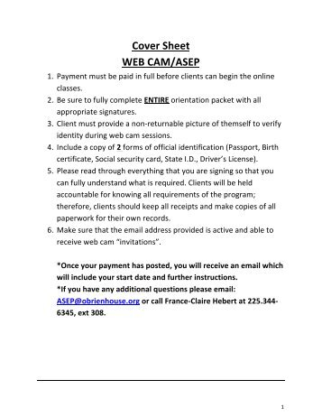 Cover Sheet WEB CAM/ASEP - O'Brien House