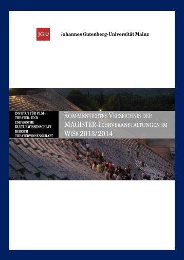Magister Kommentiertes Vorlesungsverzeichnis WiSe 2013/14