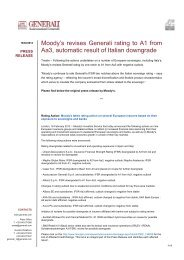 Moody's revises Generali rating