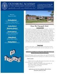 March 12 - Oldenburg Academy