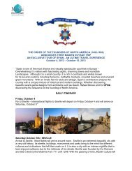 2013 Spain Trip Itinerary - Order of the Founders of North America ...