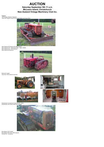 Web Page for Auction - NZ Vintage Machinery Club