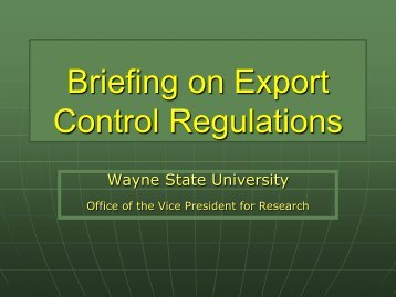 Export Control Handout - Sponsored Program Administration ...