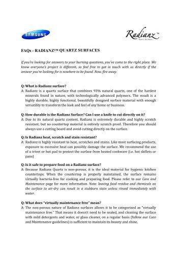 FAQs - RADIANZ™ QUARTZ SURFACES