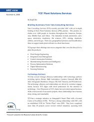 TCS' Plant Solutions Services - ARC Advisory Group