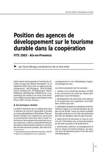 Position des agences de développement sur le tourisme durable ...