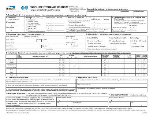 Horizon Dental Enrollment/Change Request