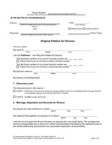 Texas divorce petition?