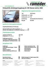 Einbauhilfe Anhängerkupplung für VW Sharan ab Bj. 2000
