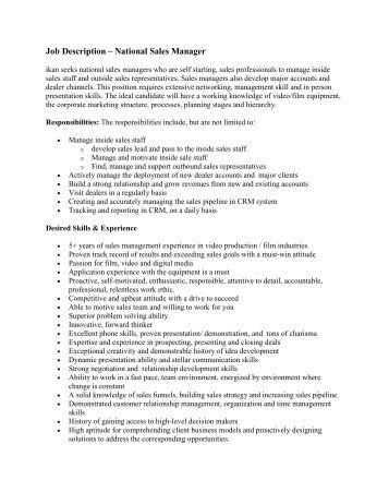 Director National Accounts Job Description - The Sales ...